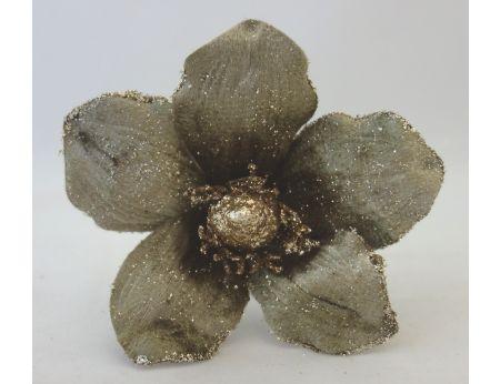 Hnědá magnólie se zlatými třpytkami-3ks