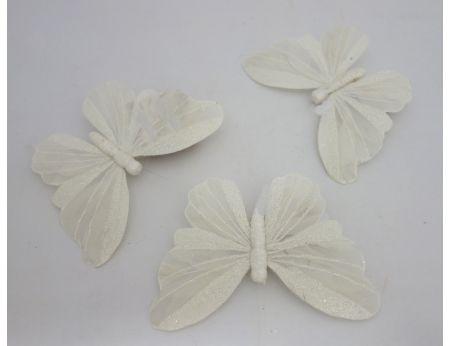 Bílý třpytivý motýlek - S/3