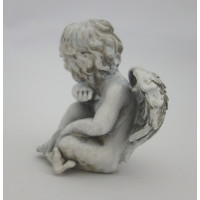 Šedý sedící andílek