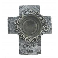 Smuteční kříž s kalíškem na svíčku