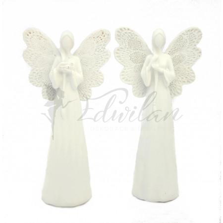 Bílý anděl s dlouhým copem - 2ks
