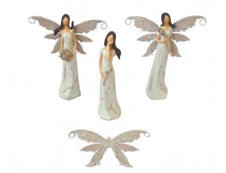 Víla 16cm hnědá - 3ks (hnědá křídla)