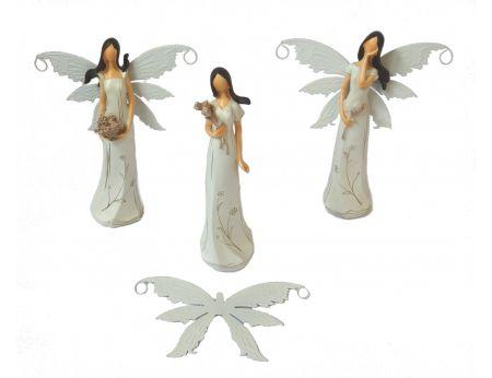 Víla 21cm hnědá - 3ks (bílá křídla)