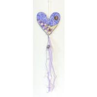 Dřevěná girlanda fialové srdce